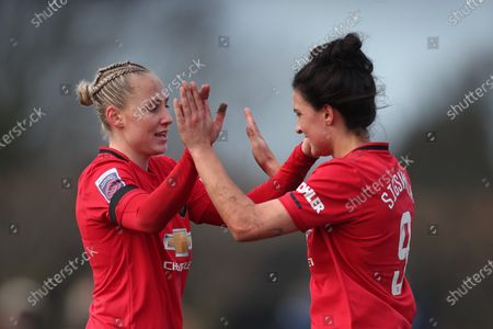 Leah Galton of Manchester United Women FC and Jess Sigsworth