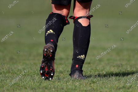 The ripped socks of Jane Ross of Manchester United Women FC