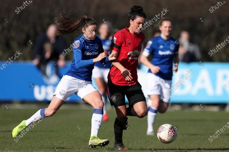 Stock Image of Danielle Turner of Everton Women and Jess Sigsworth of Manchester United Women FC