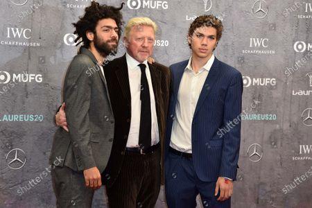 Stock Photo of Boris Becker (mi) und Sshne Noah Becker und Elias Becker