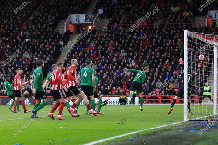Stock Image of Brighton & Hove Albion goalkeeper Matthew Ryan fails to stop the shot by Enda Stevens of Sheffield United 1-0