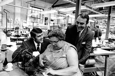 London, United Kingdom - Geoff Hurst & Jimmy Greaves in a factory - no date perhaps 1966?