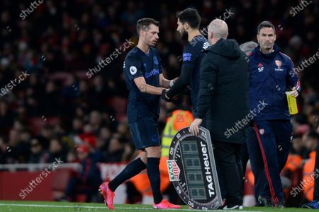 Morgan Schneiderlin is replaced by Andre Gomes of Everton during the Premier League match between Arsenal and Everton at the Emirates Stadium in London, UK - 16th February 2020