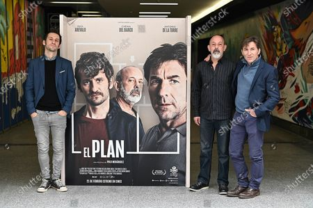 Raul Arevalo, Chema del Barco and Antonio de la Torre pose during the presentation of the Spanish film 'El Plan' ('The Plan') in Madrid, Spain, 18 February 2020.