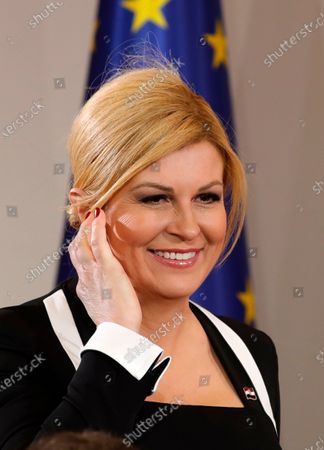 Croatian former president Kolinda Grabar Kitarovic arrives at the Presidential Office for the inauguration ceremony of new Croatian President Zoran Milanovic (not pictured), in Zagreb, Croatia, 18 February 2020. Milanovic has been sworn-in as the fifth President of Croatia after winning presidential runoff vote in January 2020 defeating the incumbent conservative Grabar-Kitarovic.
