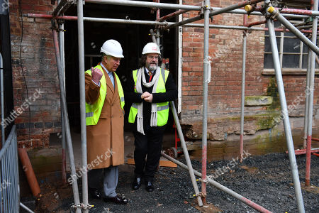 Prince Charles and Gregory Doran, Artistic Director of the Royal Shakespeare Company (RSC), viewing the restoration work in the Costume Workshop of the RSC in Stratford-upon-Avon during a tour of Warwickshire and the West Midlands.