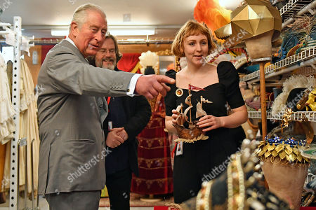 Prince Charles and Gregory Doran (centre), Artistic Director of the Royal Shakespeare Company (RSC), viewing the costume store of the RSC in Stratford-upon-Avon during a tour of Warwickshire and the West Midlands.