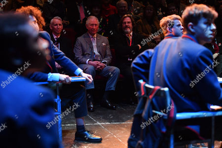 Prince Charles and Gregory Doran (right), Artistic Director of the Royal Shakespeare Company (RSC), watching a performance of The Boy in the Dress at the RSC in Stratford-upon-Avon during a tour of Warwickshire and the West Midlands.