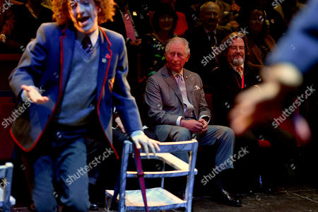 Stock Image of Prince Charles and Gregory Doran (right), Artistic Director of the Royal Shakespeare Company (RSC), watching a performance of The Boy in the Dress at the RSC in Stratford-upon-Avon during a tour of Warwickshire and the West Midlands.
