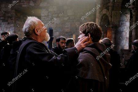 James Cosmo as Jorge and Damian Hardung as Adso
