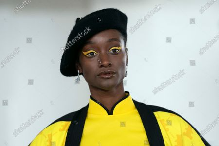 A model presents a creation by Bobby Abley during the London Fashion Week, in London, Britain, 18 February 2020. The Women's Autumn-Winter 2020/2021 collections are presented at the LFW until 18 February 2020.