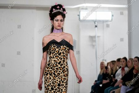 Stock Image of A model presents a creation by Bobby Abley during the London Fashion Week, in London, Britain, 18 February 2020. The Women's Autumn-Winter 2020/2021 collections are presented at the LFW until 18 February 2020.