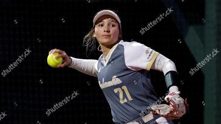 Louisiana Monroe player Jessica Williams during an NCAA softball game, in Conroe, Texas
