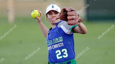 Stock Photo of Texas A & M Corpus Christi player Alyssa Miller during an NCAA softball game, in Conroe, Texas