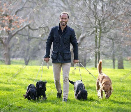 Friends for Life Ambassador James Middleton with his dogs Luna, Inka Ella and Mabel