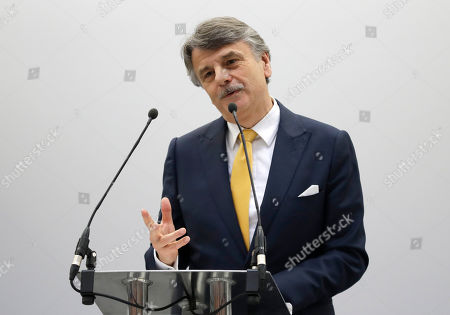 Stock Photo of Dr Ralf Speth, CEO of Jaguar Land Rover gives a speech, during a visit by Britain's Prince Charles to officially open the National Automotive Innovation Centre (NAIC) and see the latest innovations in electric and autonomous vehicle technology, in Coventry, England