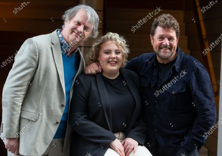 The cast of 'Hairspray the Musical' pose for photos ahead of the opening of the Musical on April 23rd. L to R Paul Merton, Lizzie Bea and Michael Ball. Paul Merton will be making his West End debut as Wilbur Turnblad.