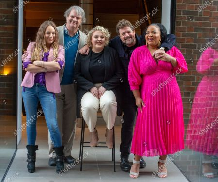 Stock Picture of The cast of 'Hairspray the Musical' pose for photos ahead of the opening of the Musical on April 23rd. L to R Rita Simons, Paul Merton, Lizzie Bea, Michael Ball and Marisha Wallace. Paul Merton will be making his West End debut as Wilbur Turnblad.