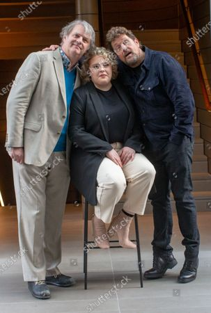 Stock Photo of The cast of 'Hairspray the Musical' pose for photos ahead of the opening of the Musical on April 23rd. L to R Paul Merton, Lizzie Bea and Michael Ball. Paul Merton will be making his West End debut as Wilbur Turnblad.