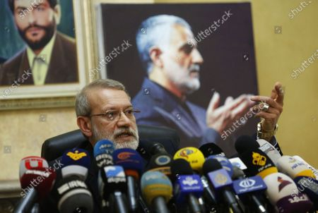 Iran's Speaker of Parliament Ali Larijani addresses a press conference at the Iranian embassy in Lebanon