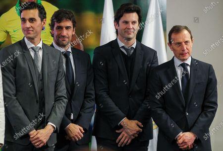 Alvaro Arbeloa Coca, Raul Gonzalez, Santiago Solari and Emilio Butragueno during Reinier Jesus Carvalho presentation as a new Real Madrid CF player at Santiago Bernabéu