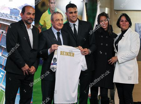 Florentino Perez, president of Real Madrid, Reinier Jesus Carvalho and his family during his presentation as a new Real Madrid CF player at Santiago Bernabéu