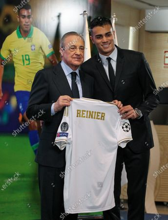 Florentino Perez, president of Real Madrid and Reinier Jesus Carvalho during his presentation as a new Real Madrid CF player at Santiago Bernabéu