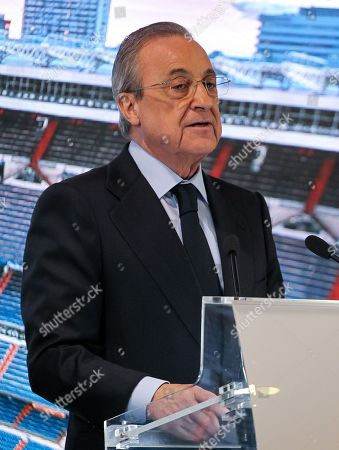 Florentino Perez, president of Real Madrid during Reinier Jesus Carvalho presentation as a new Real Madrid CF player at Santiago Bernabéu