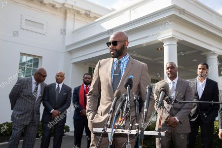 Former NFL football player Jerry Rice speaks after walking out of the West Wing of White House, in Washington. It was announced that President Donald Trump has granted a full pardon to Edward DeBartolo Jr., former owner of the San Francisco 49ers NFL football team convicted in gambling fraud scandal
