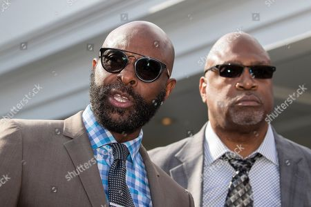 Jerry Rice, Charles Haley. Former NFL football players Jerry Rice, and Charles Haley speak after walking out of the West Wing of White House, in Washington. It was announced that President Donald Trump has granted a full pardon to Edward DeBartolo Jr., former owner of the San Francisco 49ers NFL football team convicted in gambling fraud scandal
