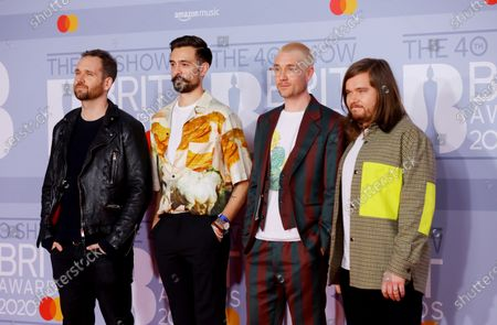 Stock Image of Will Farquarson, Kyle Simmons, Dan Smith and Chris Wood of British Indie-Rockband 'Bastille' arrive for the Brit Awards 2020 at the O2 Arena in London, Britain 18 February 2020. It is the 40th edition of the British Phonographic Industry's annual pop music awards.