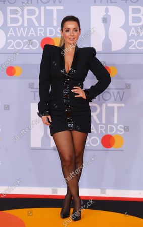 Louise Redknapp arrives for the Brit Awards 2020 at the O2 Arena in London, Britain 18 February 2020. It is the 40th edition of the British Phonographic Industry's annual pop music awards.