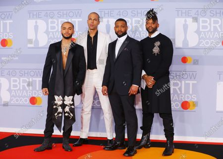 Members of British pop group JLS, Aston Merrygold, Oritse Williams, Marvin Humes, and Jonathan Gill arrive for the Brit Awards 2020 at the O2 Arena in London, Britain 18 February 2020. It is the 40th edition of the British Phonographic Industry's annual pop music awards.