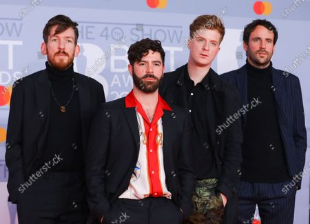 Members of the British band Foals  Edwin Congreave, Yannis Philippakis, Jack Bevan and Jimmy Smith arrive for the Brit Awards 2020 at the O2 Arena in London, Britain 18 February 2020.