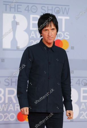 Johnny Marr arrives for the Brit Awards 2020 at the O2 Arena in London, Britain 18 February 2020. It is the 40th edition of the British Phonographic Industry's annual pop music awards.