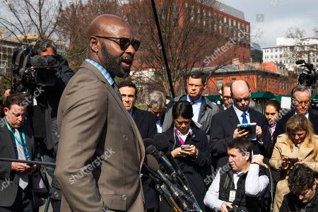 Former NFL football player Jerry Rice speaks to reporters outside the West Wing of the White House, in Washington. It was announced that President Donald Trump has granted a full pardon to Edward DeBartolo Jr., former owner of the San Francisco 49ers NFL football team convicted in a gambling fraud scandal