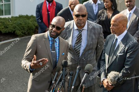 Jerry Rice, Charles Haley, Ronnie Lott. Former NFL football player Jerry Rice, from left, with other former NFL football players Charles Haley, and Ronnie Lott, speaks to reporters outside the West Wing of the White House, in Washington. It was announced that President Donald Trump has granted a full pardon to Edward DeBartolo Jr., former owner of the San Francisco 49ers NFL football team convicted in a gambling fraud scandal