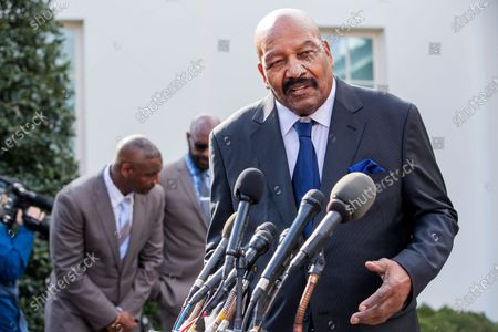 Former Cleveland Browns American football player Jim Brown speaks to the news media after the announcement of a full pardon of former San Francisco 49ers owner Edward DeBartolo Jr by US President Donald Trump at the White House in Washington, DC, USA, 18 February 2020. DeBartolo pleaded guilty in a 1998 Louisiana riverboat gambling scandal.