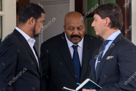 Former Cleveland Browns American football player Jim Brown (C) and White House Principal Deputy Press Secretary Hogan Gidley (R) walk out of the West Wing to announce a full pardon of former San Francisco 49ers owner Edward DeBartolo Jr by US President Donald Trump at the White House in Washington, DC, USA, 18 February 2020. DeBartolo pleaded guilty in a 1998 Louisiana riverboat gambling scandal.