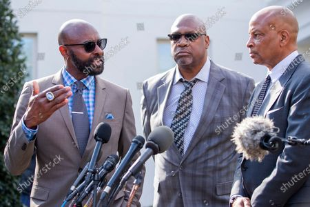 Former NFL American football players Jerry Rice (L), Charles Haley (C) and Ronnie Lott (R) speak to the news media after the announcement of a full pardon of former 49ers owner Edward DeBartolo Jr by US President Donald Trump at the White House in Washington, DC, USA, 18 February 2020. DeBartolo pleaded guilty in a 1998 Louisiana riverboat gambling scandal.