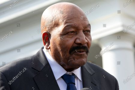 Former professional football player Jim Brown speaks to members of the media outside the White House in Washington after United States President Donald Trump granted a full pardon to Edward DeBartolo Jr., former owner of the San Francisco 49ers, who was convicted after pleading guilty in a gambling fraud scandal in 1998.