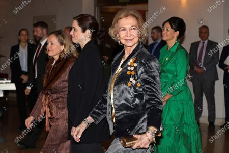 Stock Picture of Spain's Queen Emeritus Sofia (C), Madrid's regional president, Isabel Diaz Ayuso (2-L), and Spanish Economy Minister, Nadia Calvino (L), upon arrival at Ainhoa Arteta's benefit concert against Amyotrophic lateral sclerosis (ALS) organized by Luzon Foundation in Madrid, Spain, 18 February 2020.