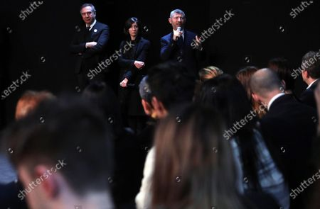 Italian Undersecretary of Foreign Affairs Ivan Scalfarotto (R) with Carlo Capasa (L), President of National Chamber of Italian Fashion, a non-profit organization, whose purpose is the promotion, coordination of the Italian fashion industry and the training of young Italian designers, on the occasion of the Han Wen Special Fashion Show and Institutional Launch of the initiative 'China, we are with you' in Milan, Italy, 18 February 2020.
