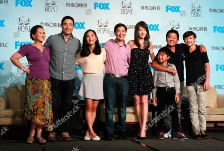 "Lucille Soong, Randall Park, Constance Wu, Ken Jeong, Ann Hsu, Ian Chen, Hudson Yang, Forrest Wheeler. Actors, from left, Lucille Soong, Randall Park, Constance Wu, Ken Jeong, Ann Hsu, Ian Chen, Hudson Yang and Forrest Wheeler pose for photographers during a media event promoting their television comedy series ""Fresh off the Boat"" in Taipei, Taiwan. The sitcom was the first American TV show to film on location in Taiwan and the first to have a majority of dialogue in Mandarin in one episode"
