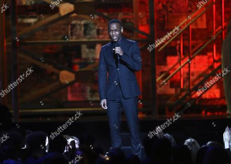 Actor Michael Ward on stage at the Brit Awards 2020 in London
