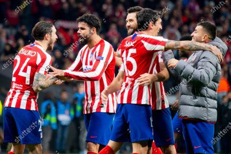 Sime Vrsaljko, Diego Costa, Stefan Savic and Felipe of Atletico de Madrid celebrate after match