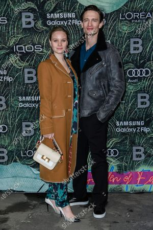 German actress Sonja Gerhardt (L) and German-Swedish actor August Wittgenstein attend the PLACE TO B Pre-Berlinale Dinner at Restaurant Tim Raue in Berlin, Germany, 18 February 2020.
