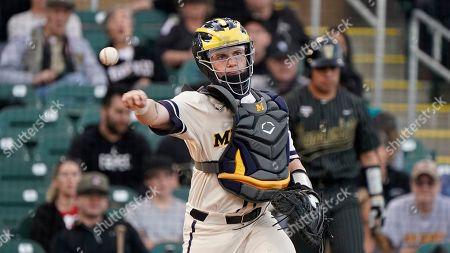 Stock Picture of Michigan catcher Joe Donovan (0) during an NCAA baseball game against Vanderbilt, in Scottsdale, Ariz