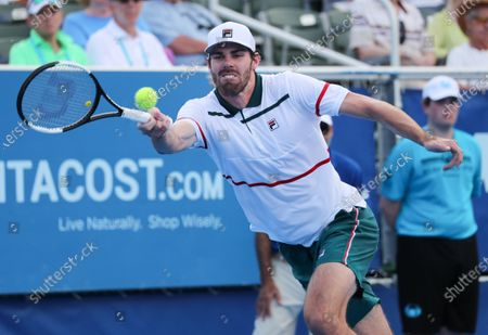 Reilly OPELKA (USA) hits a forehand during his match against Ernests GULBIS (LAT) at the Delray Beach Open ATP professional tennis tournament, played at the Delray Beach Stadium & Tennis Center in Delray Beach, Florida, USA