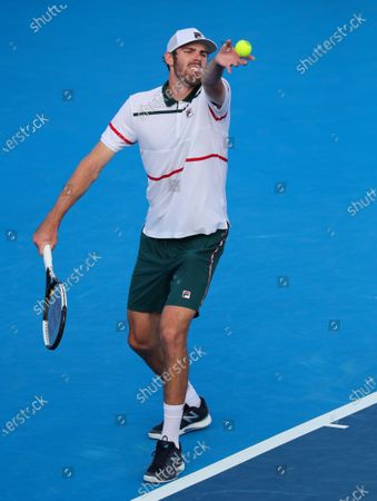 Reilly OPELKA (USA) lifts the ball to serves against Ernests GULBIS (LAT) at the Delray Beach Open ATP professional tennis tournament, played at the Delray Beach Stadium & Tennis Center in Delray Beach, Florida, USA